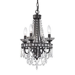 Mini Chandelier In Dark Bronze And Clear