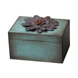 Wooden/Metal Flower Keep Sake Box - Purple