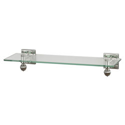 Glass Shelf With Brushed Steel Accents And Embossed Back Plates