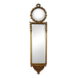 Antique Reproduction Wall Mirror With Convex Top Mirror