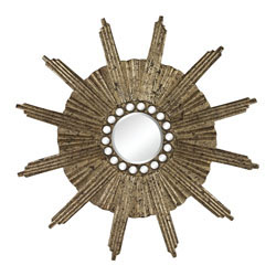 Buxton-Abstract Starburst Mirror In Gold Etched Finish