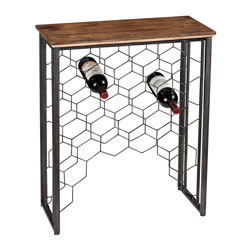 Wood And Metal Small Console With Wine Rack