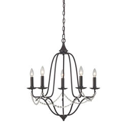 Tavistock-Rustic Iron 5 Light Chandelier With Beaded Accent Chain