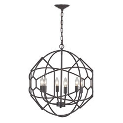 Strathroy 6 Light Orb Chandelier With Honeycomb Metal Work By