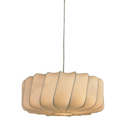 Lochend-Off-White Fabric Pendant On Twisted Drum Shape Frame