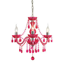 Theatre-3 Light Cerise Pink Mini Chandelier