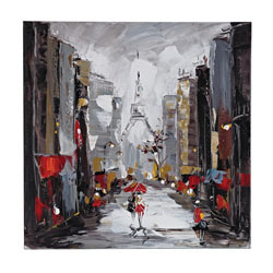Paris Scene Oil On Canvas