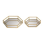 Set of 2 Mirrored Hexagonal Trays