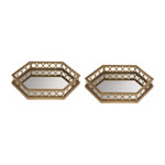Set of 2 Ribbed Hexagonal Mirrored Trays