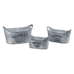 Set Of 3 Metal Planters With Parisian Print