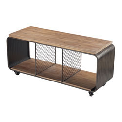 Maltapan-Wood Tone / Metal TV Stand With Wire Accents Set On 4 Wheels