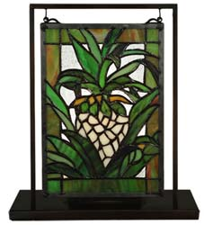 "Meyda Tiffany 6""W X 9""H Welcome Pineapple Lighted Mini Tabletop Window"