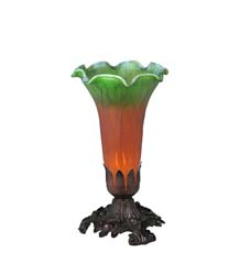 "Meyda Tiffany 8""H Amber/Green Pond Lily Accent Lamp"