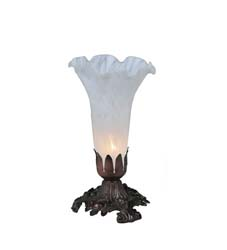 "Meyda Tiffany 8""H White Pond Lily Accent Lamp"