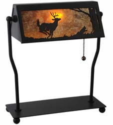 "Meyda Tiffany 12.5""H Deer On The Loose Banker's Lamp"