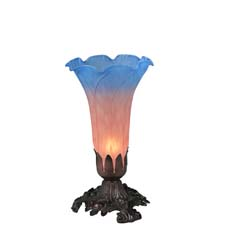 "Meyda Tiffany 8""H Pink/Blue Pond Lily Accent Lamp"