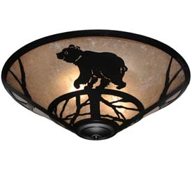 "Meyda Tiffany 22""W Happy Bear On The Loose Flushmount"