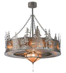 "Meyda Tiffany 44""W Tall Pines W/Fan Light Chandel-Air"
