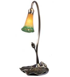 "Meyda Tiffany 16""H Amber/Green Pond Lily Accent Lamp"