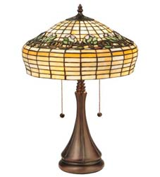 "Meyda Tiffany 21.5""H Duffner & Kimberly Raised Tulip Table Lamp"