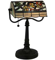 "Meyda Tiffany 15""H Vineyard Banker's Lamp"