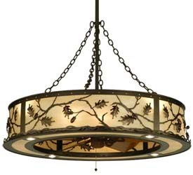 "Meyda Tiffany 44.5""W Oak Leaf & Acorn Chandel-Air"