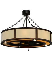 "Meyda Tiffany 44.5"" Maplewood Beige Linen W/Up And Downlights Chandel-Air"