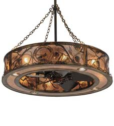 "Meyda Tiffany 44""W Whispering Pines Custom Logo Up And Downlight Chandel-Air"