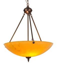 "Meyda Tiffany 20""W Corinth Amber Inverted Pendant"