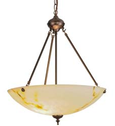 "Meyda Tiffany 20""W Corinth White Marble Inverted Pendant"