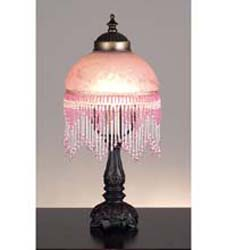"Meyda Tiffany 6"" Fringed Globe Pink & Base"