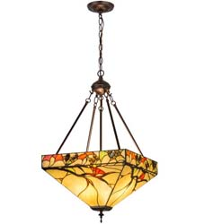 "Meyda Tiffany 16""Sq Woodland Berries Inverted Pendant"