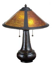 "Meyda Tiffany 21""H Van Erp Amber Mica Table Lamp"
