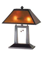 "Meyda Tiffany 20""H Van Erp Amber Mica Oblong Table Lamp"