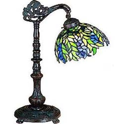 "Meyda Tiffany 19""H Tiffany Honey Locust Bridge Arm Desk Lamp"