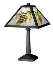 "Meyda Tiffany 16""H Northwoods Pinecone Hand Painted Accent Lamp"