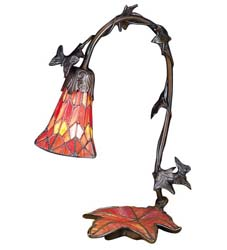 "Meyda Tiffany 15.5""H Maple Leaf W/Tiffany Mosaic Base Accent Lamp"