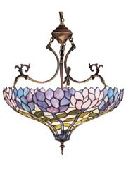"Meyda Tiffany 20""W Wisteria Inverted Pendant"