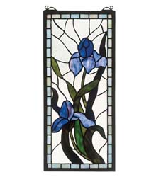 "Meyda Tiffany 9""W X 20""H Iris Stained Glass Window"