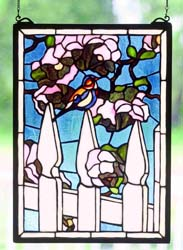 "Meyda Tiffany 13""W X 18""H Picket Fence Stained Glass Window"