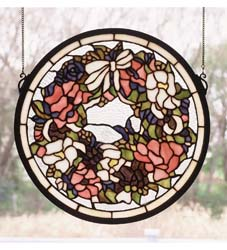 "Meyda Tiffany 15""W X 15""H Revival Wreath & Garland Medallion Stained Glass Window"