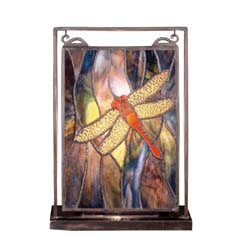 "Meyda Tiffany 9.5""W X 10.5""H Tiffany Dragonfly Lighted Mini Tabletop Window"
