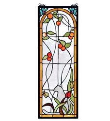 "Meyda Tiffany 9""W X 25""H Cat & Tulips Stained Glass Window"