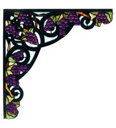 "Meyda Tiffany 13""W X 13""H Jeweled Grape Corner Bracket"