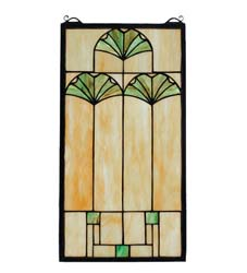 "Meyda Tiffany 11""W X 20""H Ginkgo Stained Glass Window"