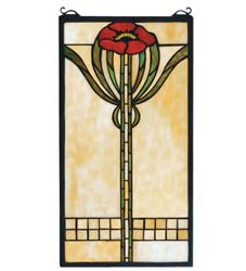 "Meyda Tiffany 11""W X 20""H Parker Poppy Stained Glass Window"