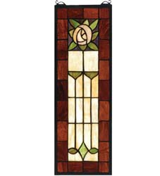 "Meyda Tiffany 8""W X 24""H Pasadena Rose Stained Glass Window"