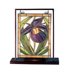 "Meyda Tiffany 9.5""W X 10.5""H Lady Slippers Lighted Mini Tabletop Window"