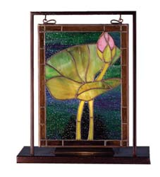 "Meyda Tiffany 9.5""W X 10.5""H Tiffany Pond Lily Lighted Mini Tabletop Window"
