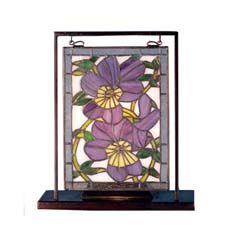 "Meyda Tiffany 9.5""W X 10.53""H Pansies Lighted Mini Tabletop Window"